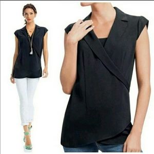 CAbi Origami Black Wrap Cap Sleeve Tunic Top
